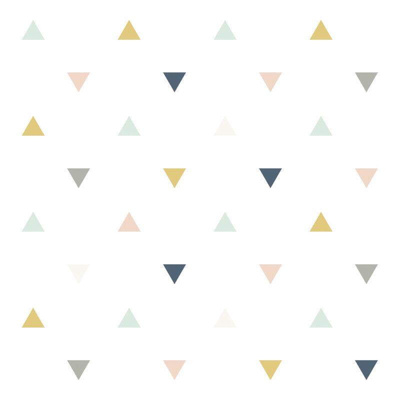 Triangles Pink Mustard Grey Behang Enchanted Lilipinso lili-h0459