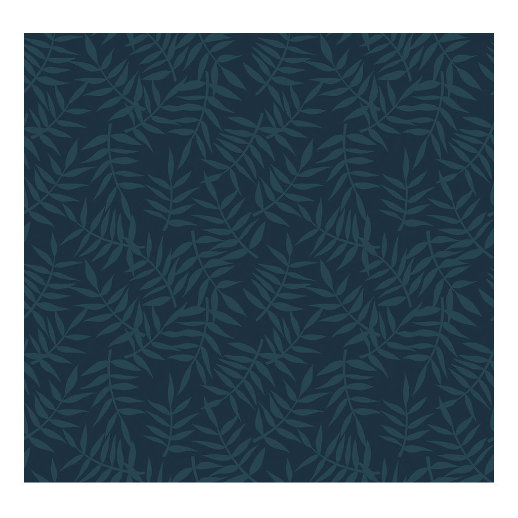 Tropical Leaves Dark Blue Behang | Lilipinso