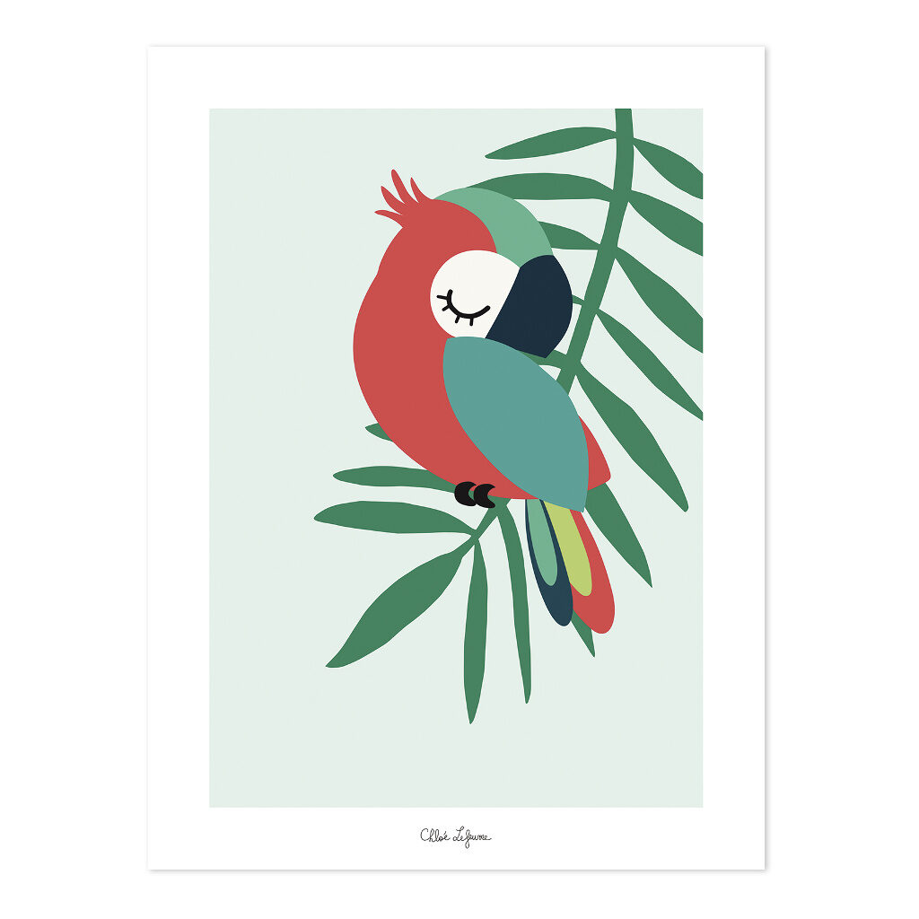 Tropical Parrot Green Poster | Lilipinso