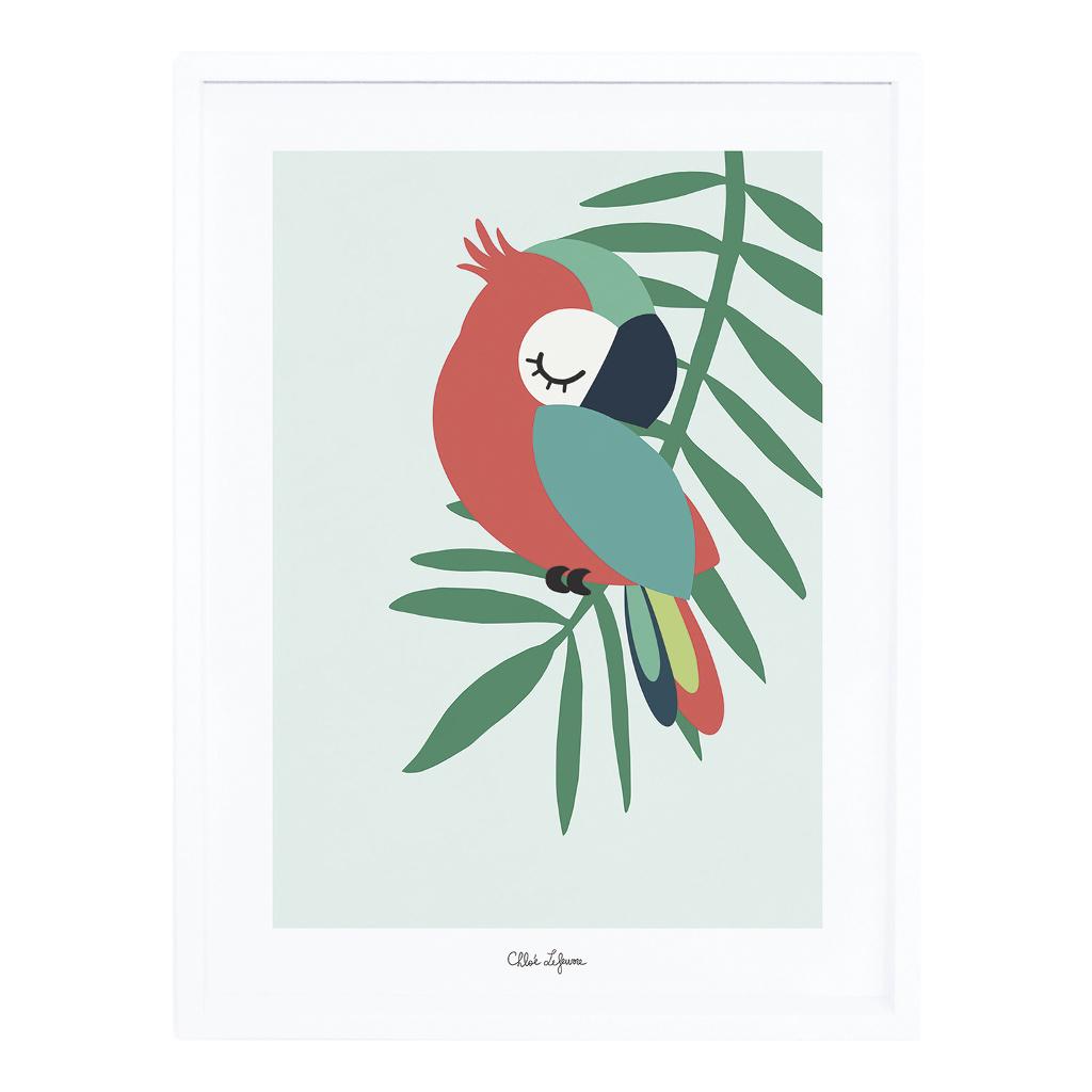 Tropical Parrot Green Poster Met Lijst Lilipinso lili-p0256