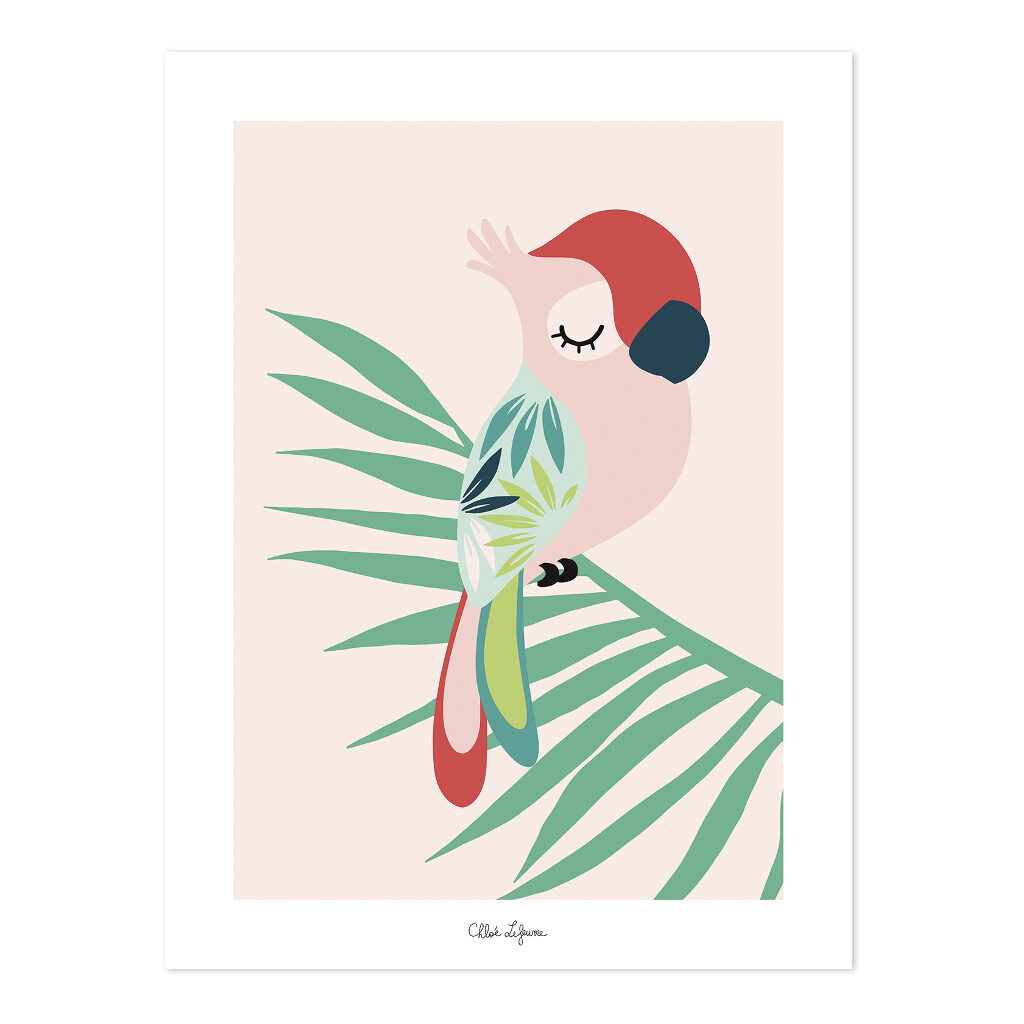 Tropical Parrot Pink Poster | Lilipinso
