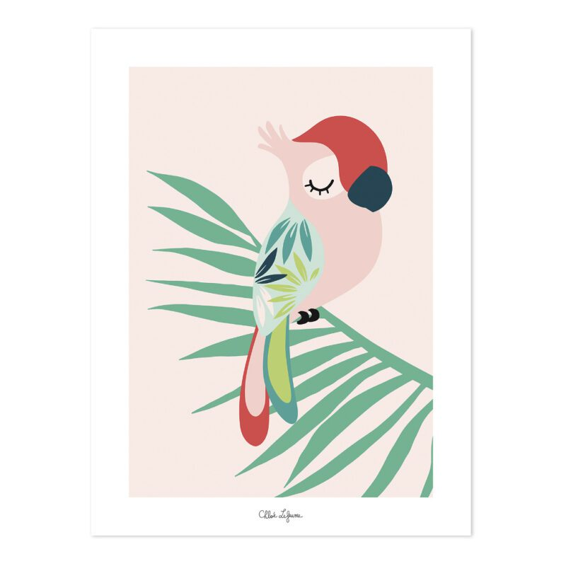 Tropical Parrot Pink Poster   Lilipinso