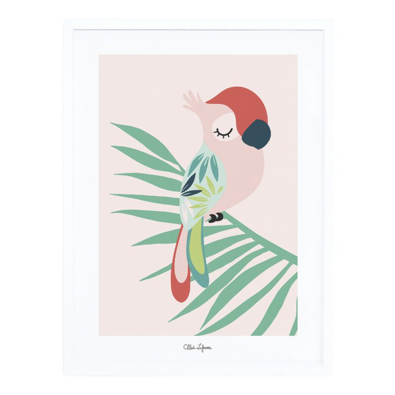 Tropical Parrot Pink Poster Met Lijst Lilipinso lili-p0257