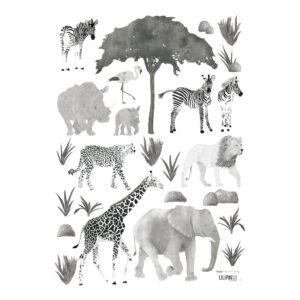 Wild Animals Muursticker A3 | Serengeti | Lilipinso