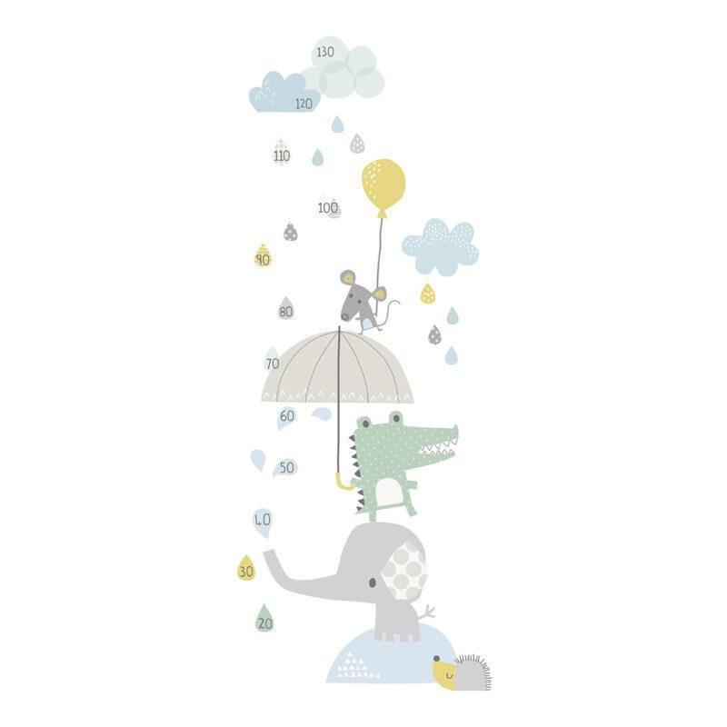 Smile It'S Raining Groeimeter Sticker Smile, It'S Raining Lilipinso Regen Druppels Paraplu Muur Meetlat Lili-S1058