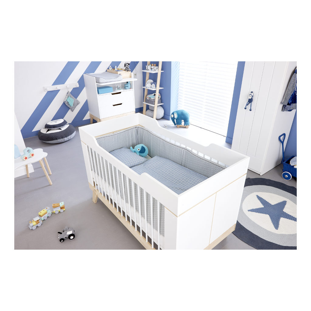 2 In 1 Baby En Junior Ledikant Lifetime Kidsrooms Babyroom Kinderkamer Wieg Blauw Life-7032