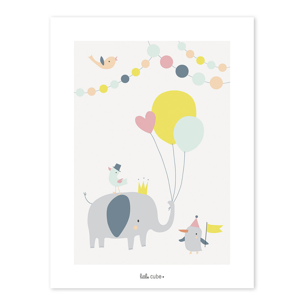 Balloons Girl Poster Animals Party Lilipinso Lili-P0196 1024X1024