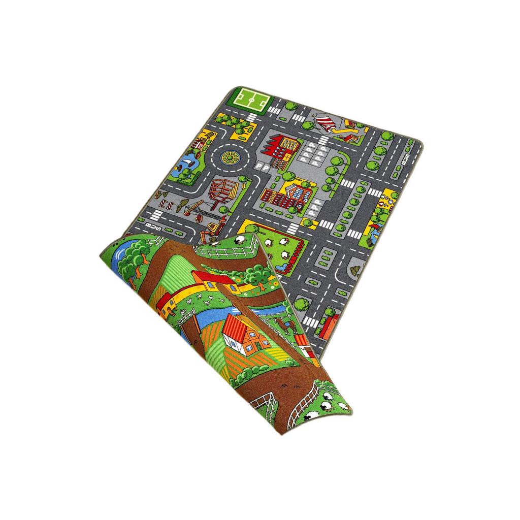 Dubbelzijdige Speelkleed Stad & Land 100 X 190 Cm 2 Kanten Thema Edup-110188