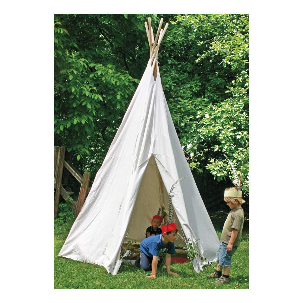 Indianentent Wit Groot 325 Cm Hoog Wigwam Teepee Tipi Wit Buiten Edup-110070