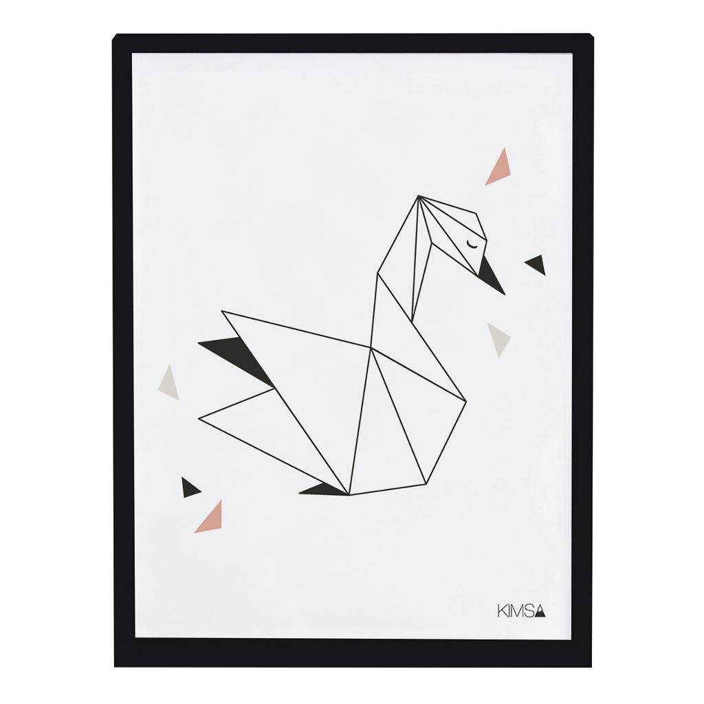 Swan Poster Origami Play Lilipinso Met Lijst Lili-P0184 1024X1024