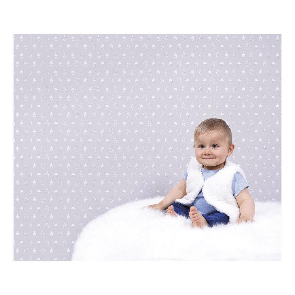 Acorn Background Colour Light Grey Behang Into The Woods Lilipinso Babykamer Kinderkamer Lili-H0330
