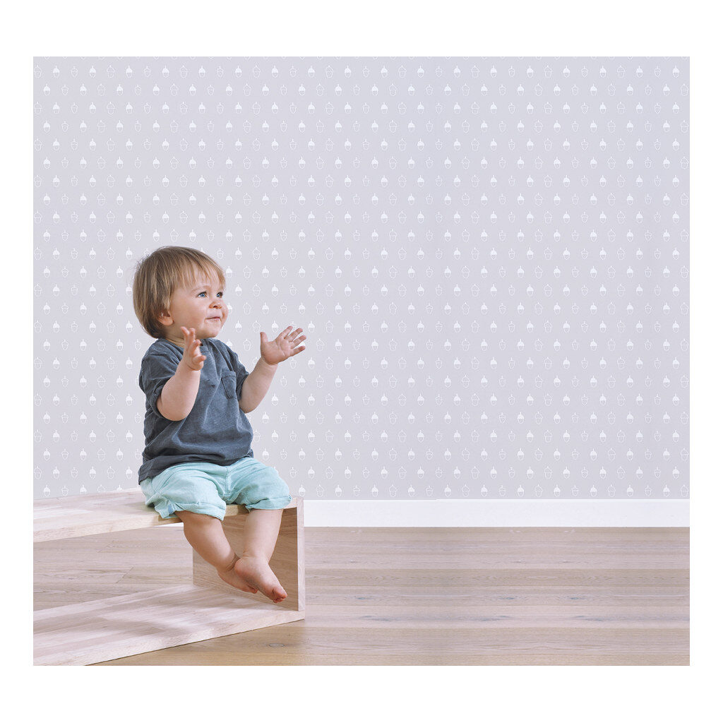 Acorn Background Colour Light Grey Behang Into The Woods Lilipinso Natuur Naturel Jongen Meisje Lili-H0330