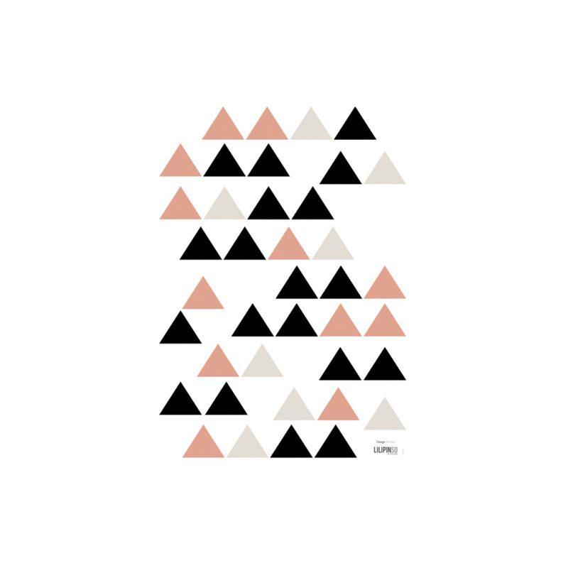 Black & Coral Triangles Muursticker A3 Origami Play Lilipinso Lili-S1047