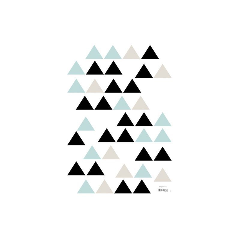 Black & Mint Triangles Muursticker A3 Origami Play Lilipinso Lili-S1046