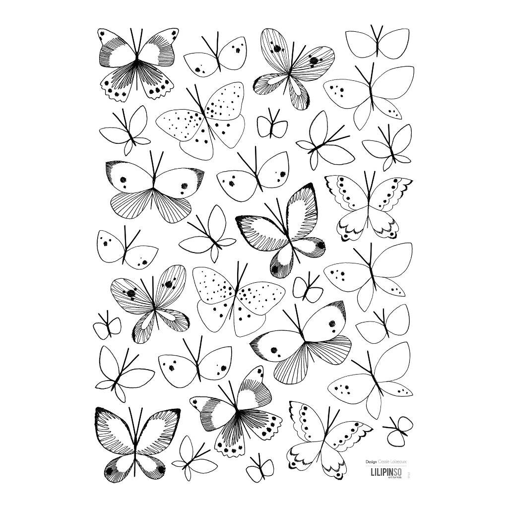 Black & White Butterflies Muursticker A3 Meadow Treasure Lilipinso Lili-S1161