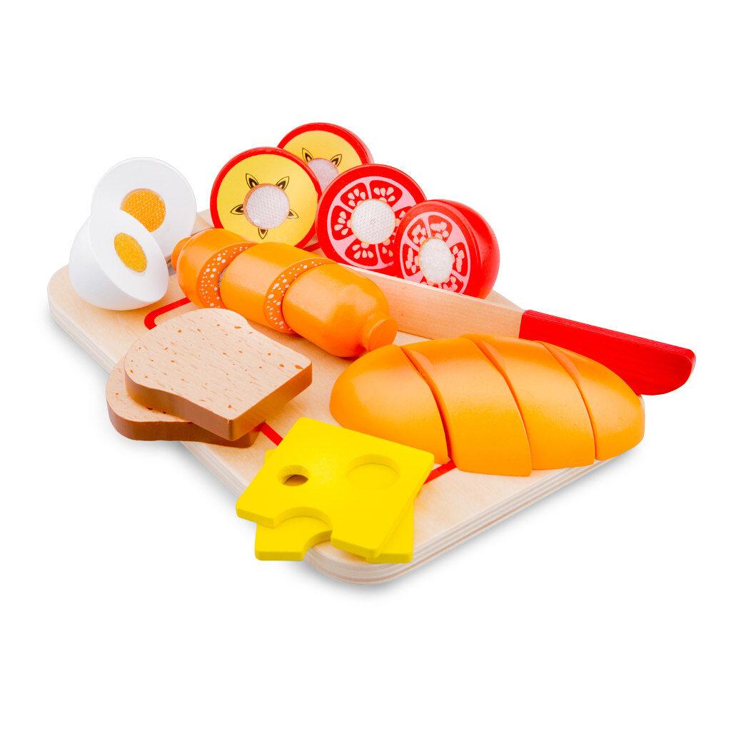 Bon Appetit Ontbijt Snijset 19 Delig New Classic Toys Klitterband Hout newc-10578