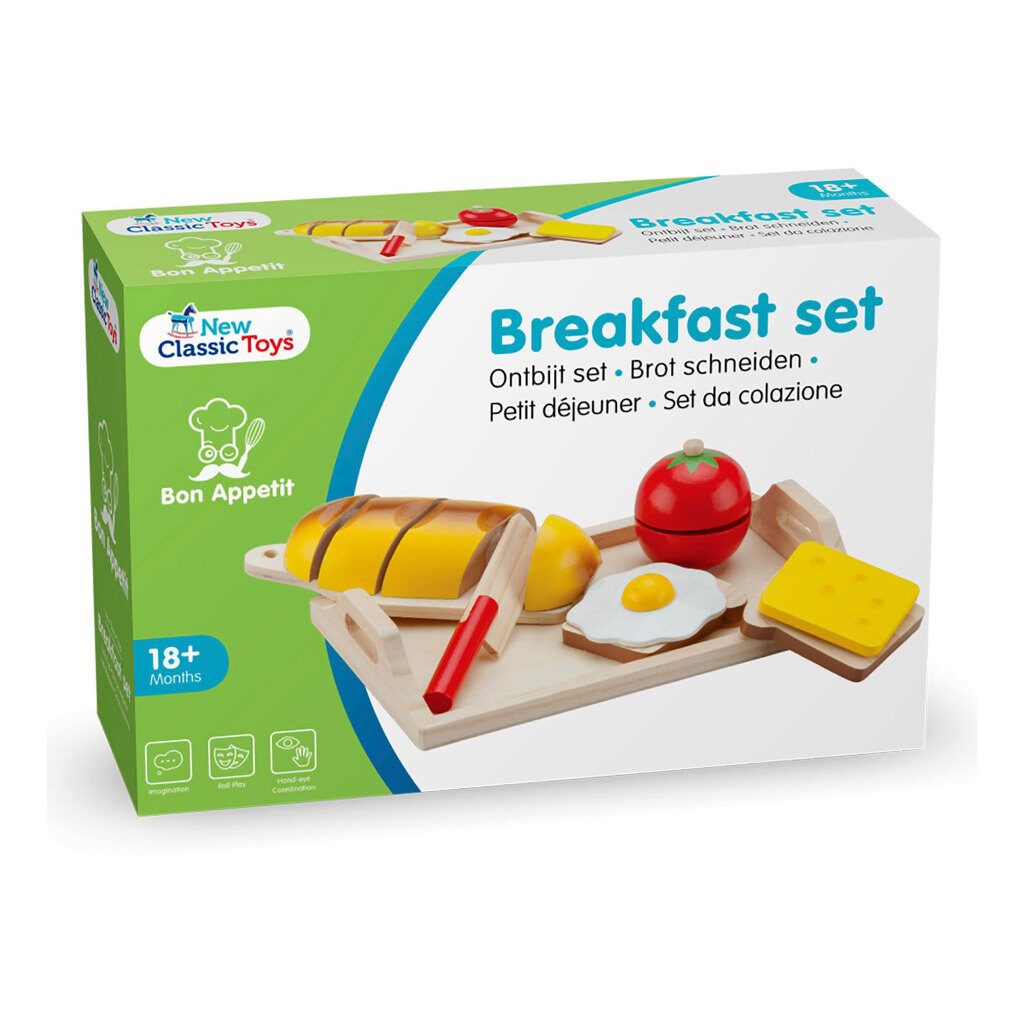 Bon Appetit Ontbijtset New Classic Toys Hout Snijden Ei Brood Mes newc-10582