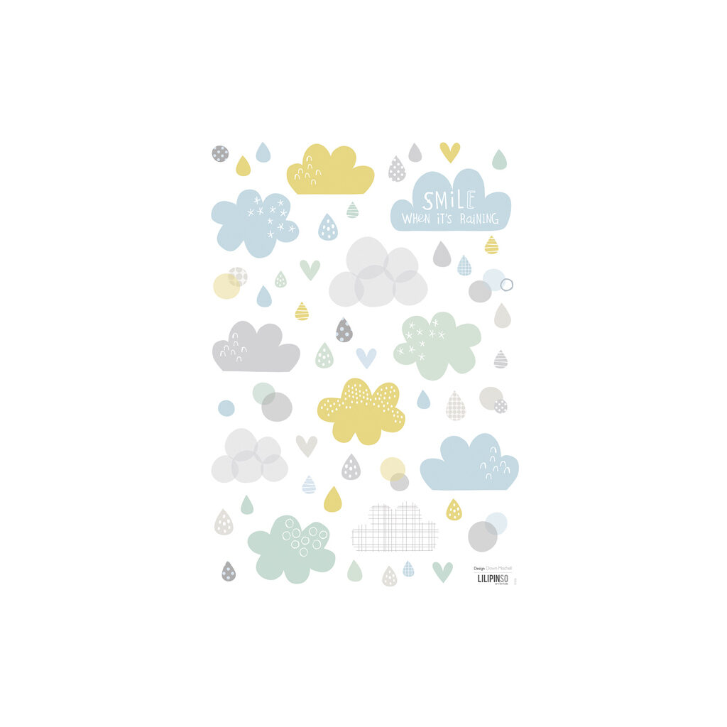 Clouds & Rain Muursticker A3 Smile, It'S Raining Lilipinso Lili-S1056