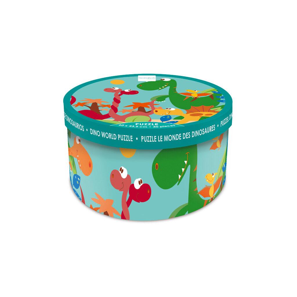 Dino Wereld Puzzel 40 Stukjes Doos Verpakking Trommel Scratch Scra-6181091