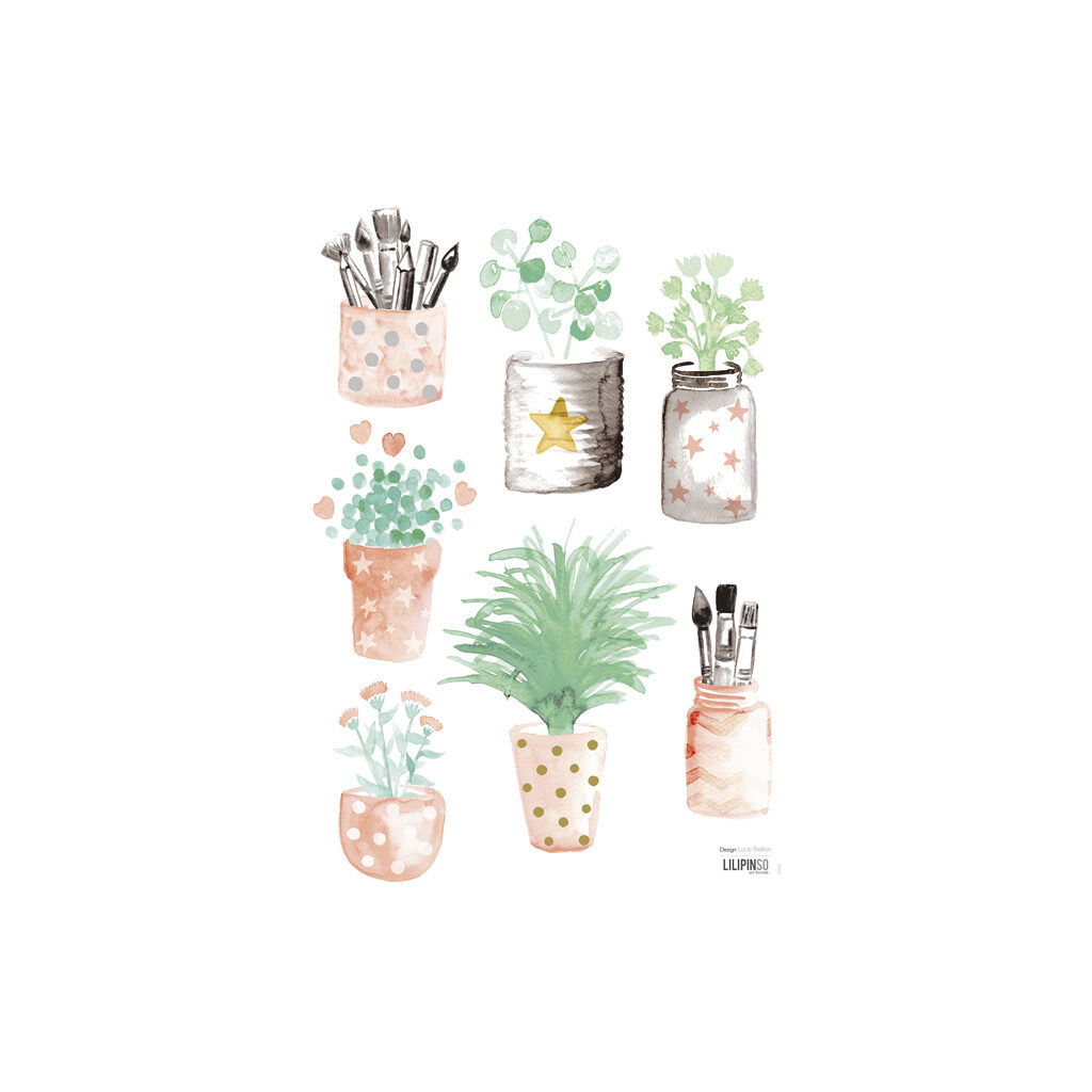 Little Flower Pots Muursticker A3 Flamingo Lilipinso Lili-S1042