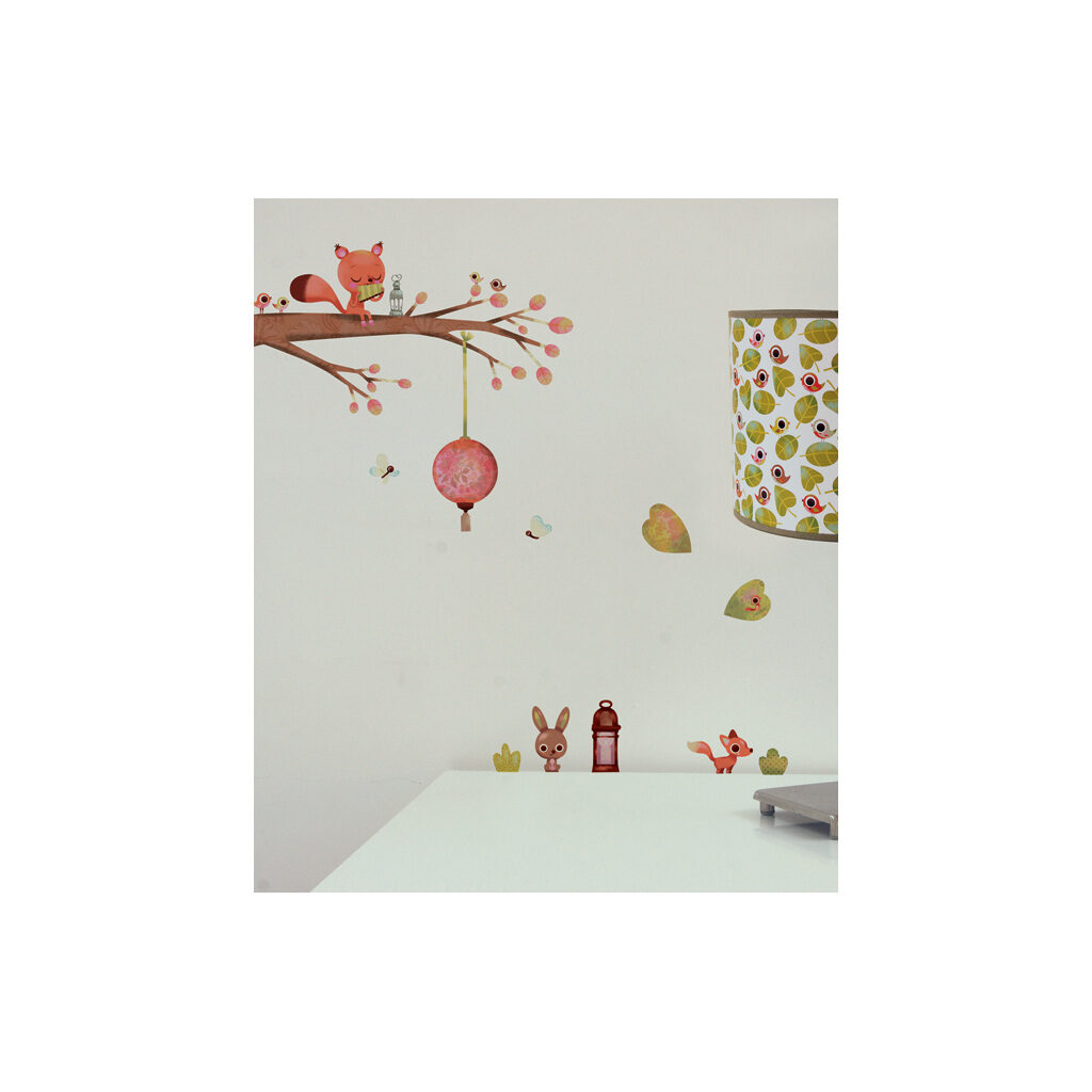 Squirrel On A Branch Muursticker A3 Lilipinso Sfeer Kinderkamer Lili-S0242