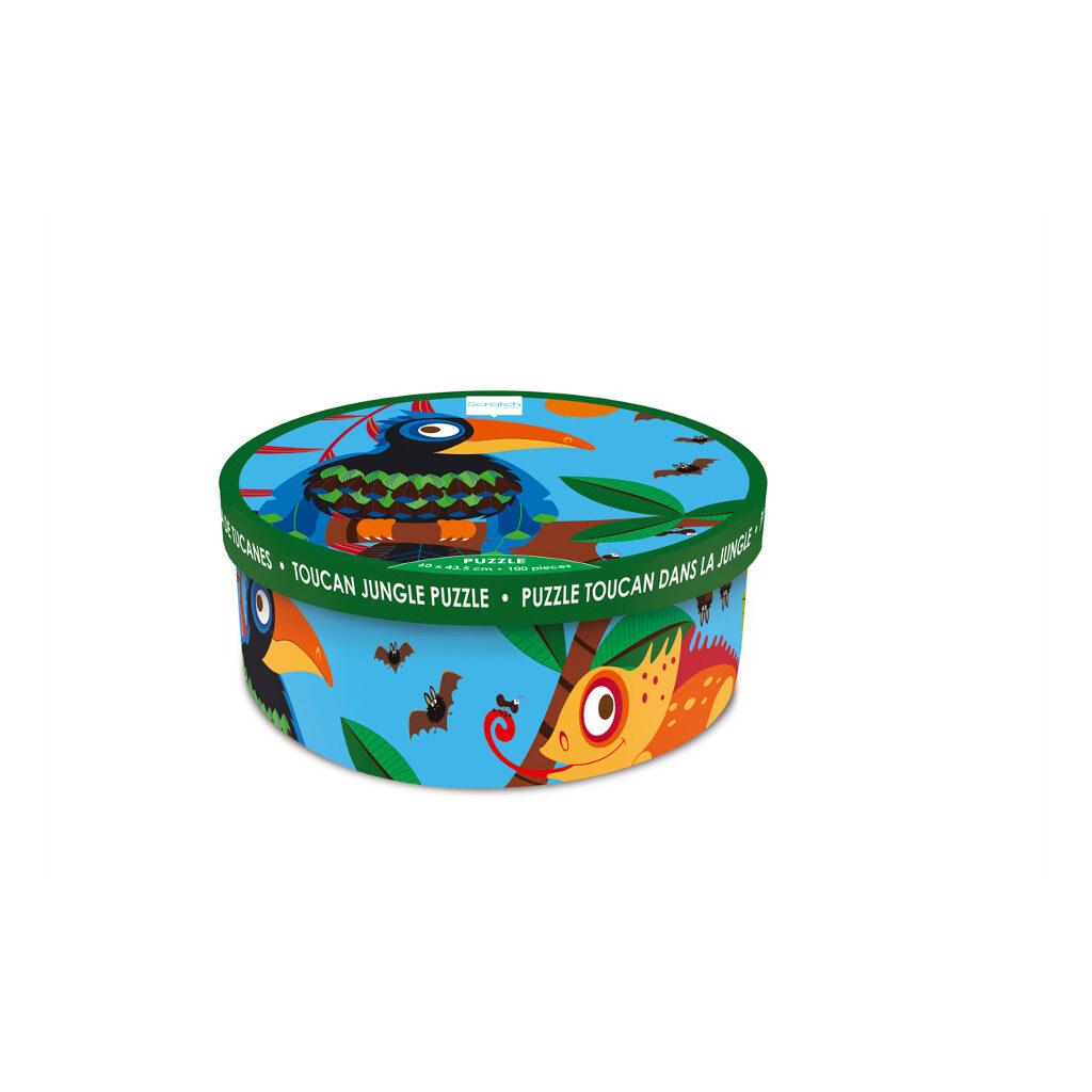 Toekan Jungle Puzzel 100 Stukjes Doos Verpakking Trommel Scratch Scra-6181092