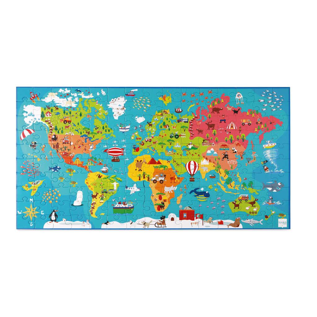 Wereldkaart Puzzel 150 Stuks Scratch Ontdek De Wereld Scra-6181076