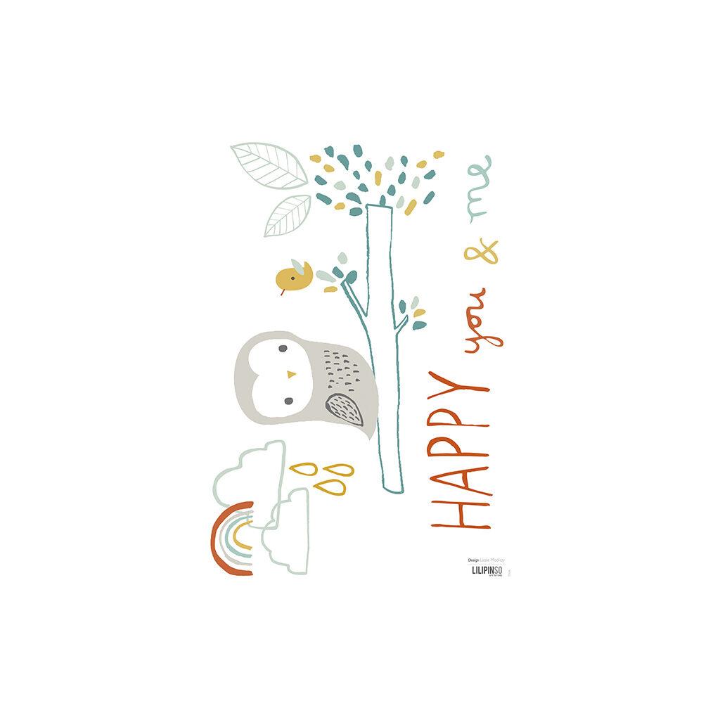 Woodland Owl Muursticker A3 Lilipinso Lili-S0696