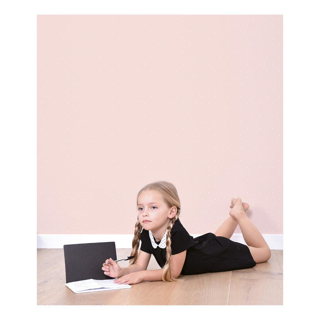 Roze Met Witte Stipjes Behang | Rosae | Lilipinso
