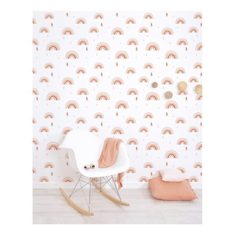 roze oranje regenboog behang paradisio lilipinso kinderkamer lili-h0568