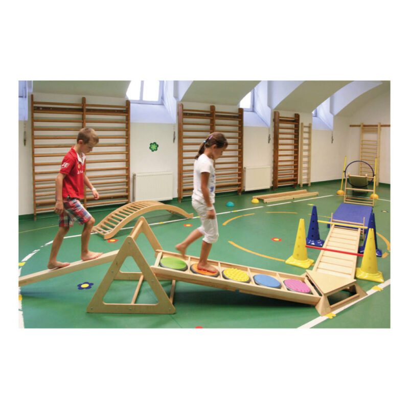 Klimrek Hout Gebogen Brug Durven Gymzaal Balans Kracht QIDDIE.com edup-170349