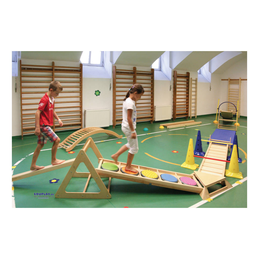 Klimrek Hout Glijbaan Peutergym Kleutergym Gymzaal Vrije Oefeningen Balans Bewegen QIDDIE.com edup-170344