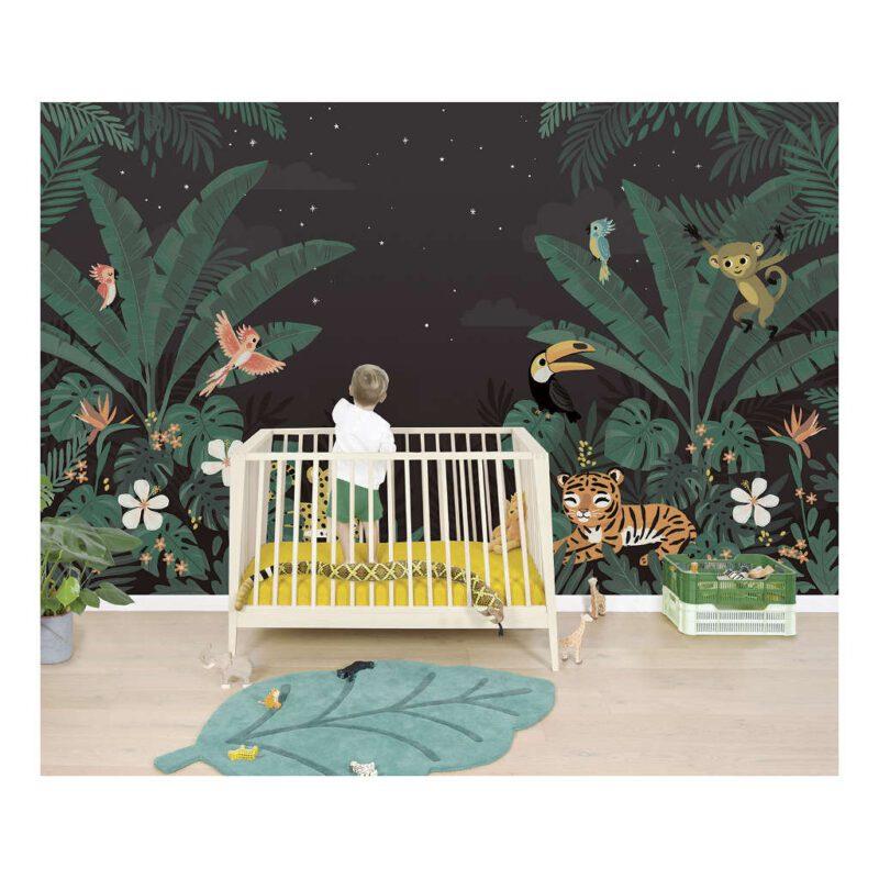 Behang Dieren Jungle In De Nacht Jungle Night Lilipinso Lieve Dieren Kinderkamer Babykamer QIDDIE.com lili-H0627