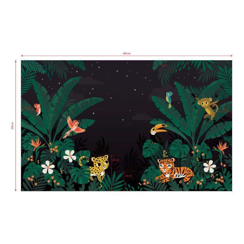 Behang Dieren Jungle In De Nacht Jungle Night Lilipinso Muurbehang Complete Wildernis Vliesbehang QIDDIE.com lili-H0627