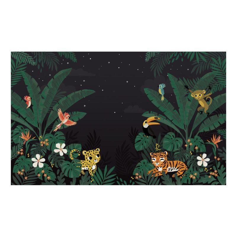 Behang Dieren Jungle In De Nacht Jungle Night Lilipinso Tijger Cheetah Vogels Aap Allemaal Dieren Donker QIDDIE.com lili-H0627