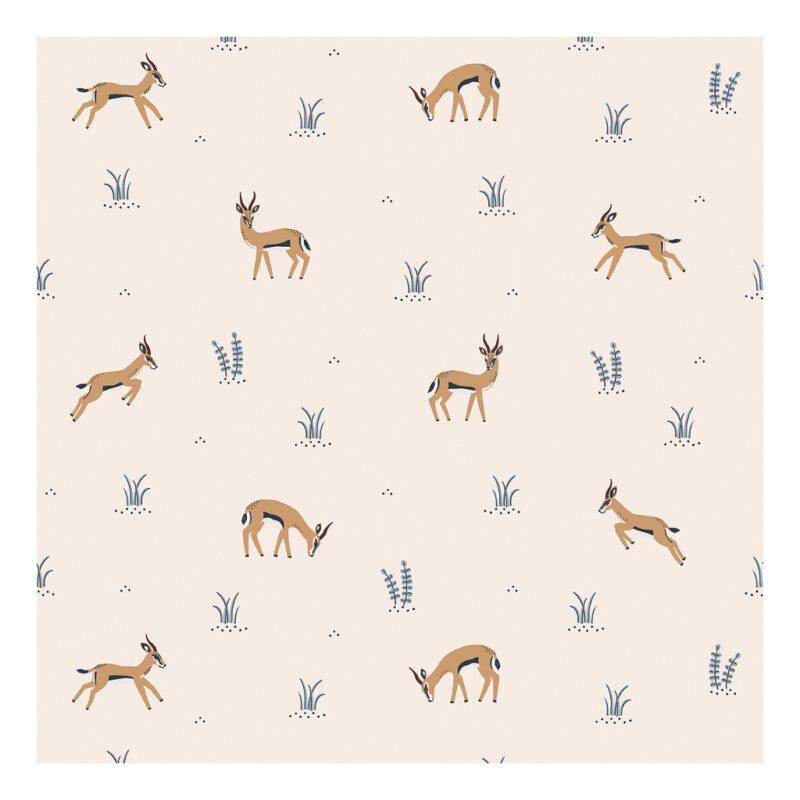 Behang Gazelle Roze Tanzania Lilipinso Antilope Poeder Roze Parel Roze Kinderkamer Babykamer QIDDIE.com lili-h0595