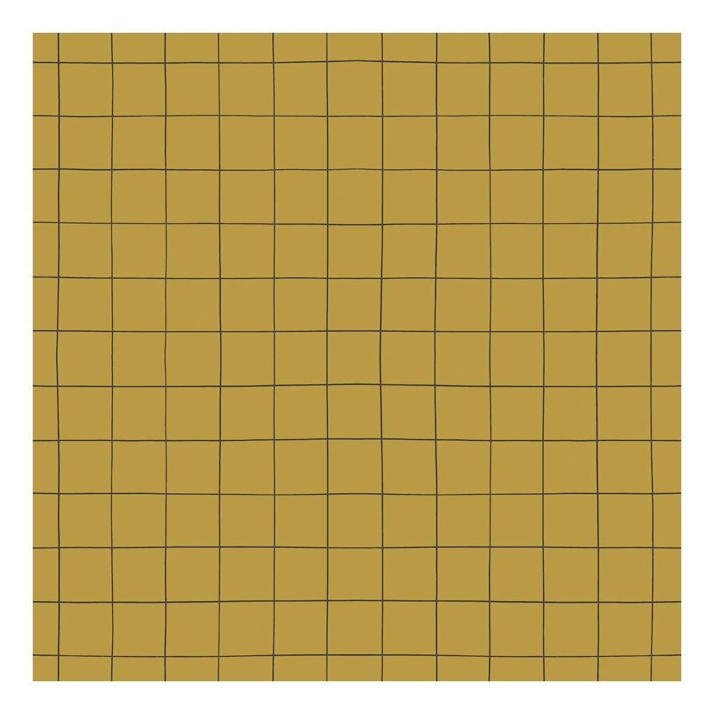 Behang Grid Mustard Minima Lilipinso Vakjes Raster Rooster Neutraal Huiskamer Speelkamer Hal Wachtruimte QIDDIE.com lili-H0616