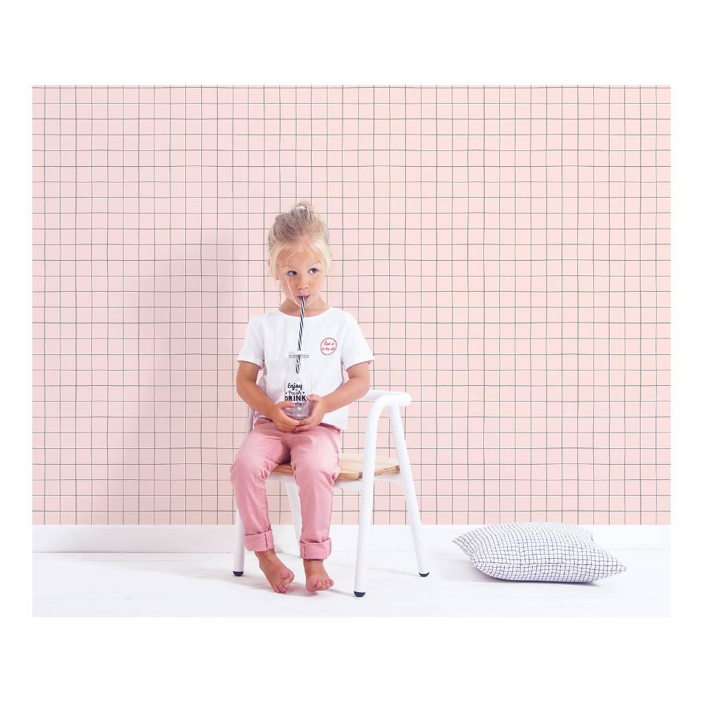 Behang Grid Parel Roze Minima Lilipinso Ruitjes Vierkantjes Raster Rooster Baby Powder Roze QIDDIE.com Lili-H0619