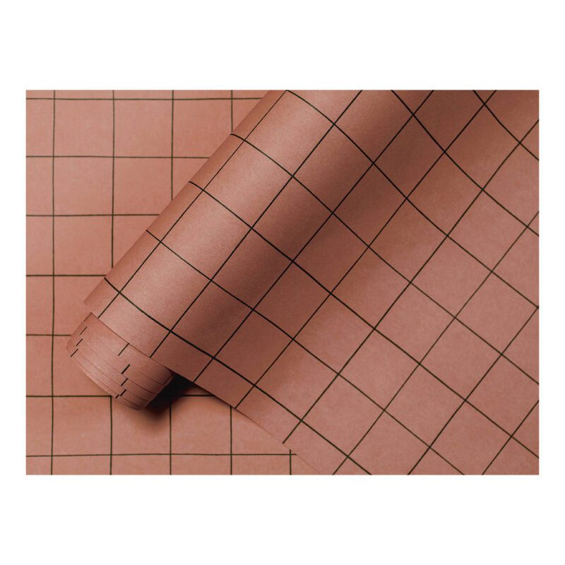 Behang Grid Terracotta Minima Lilipinso Vierkantjes Vakjes Rechte Lijnen Kinderrkamer Tienerkamer Slaap Kamer QIDDIE.com Lili-H0620