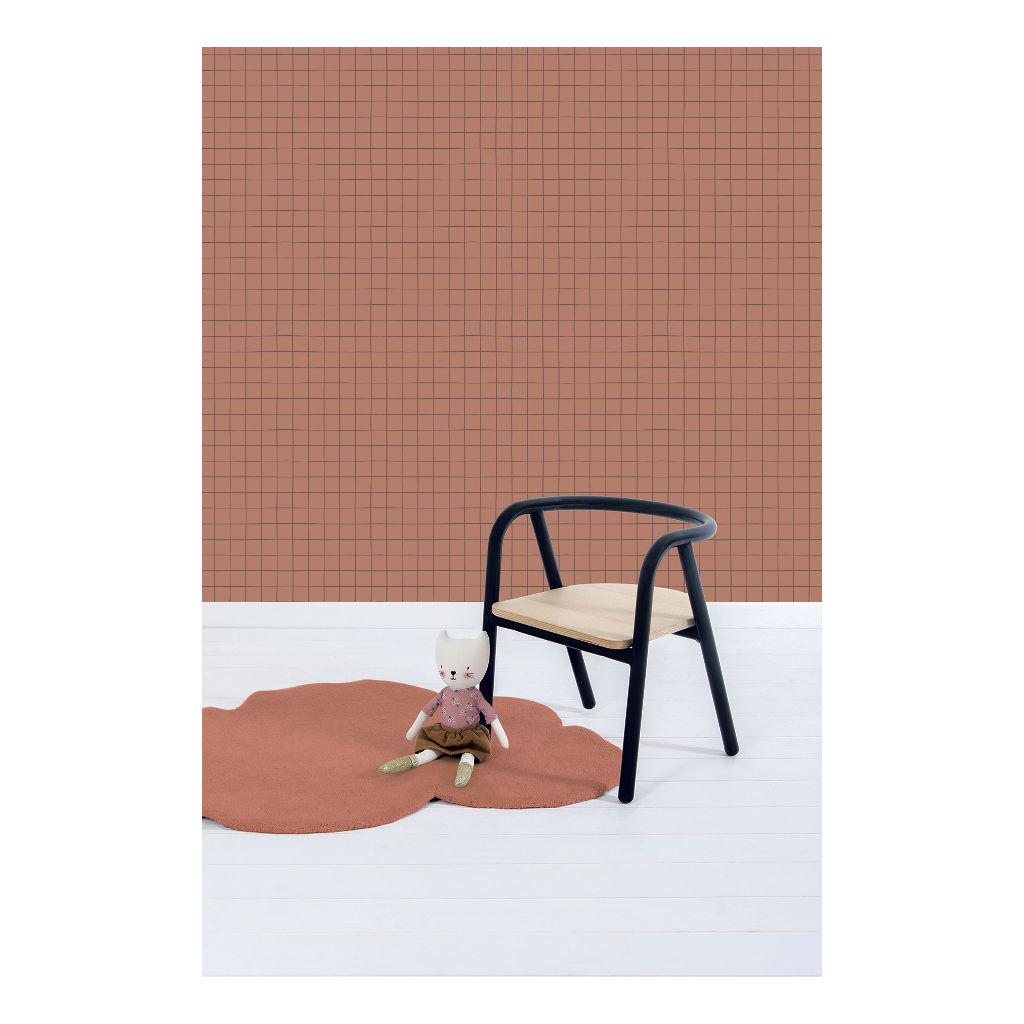 Behang Grid Terracotta Warme Bruin Roest Bruine Kleur Baby Peuter Kleuter Tiener Kamer Minima Lilipinso QIDDIE.com Lili-H0620