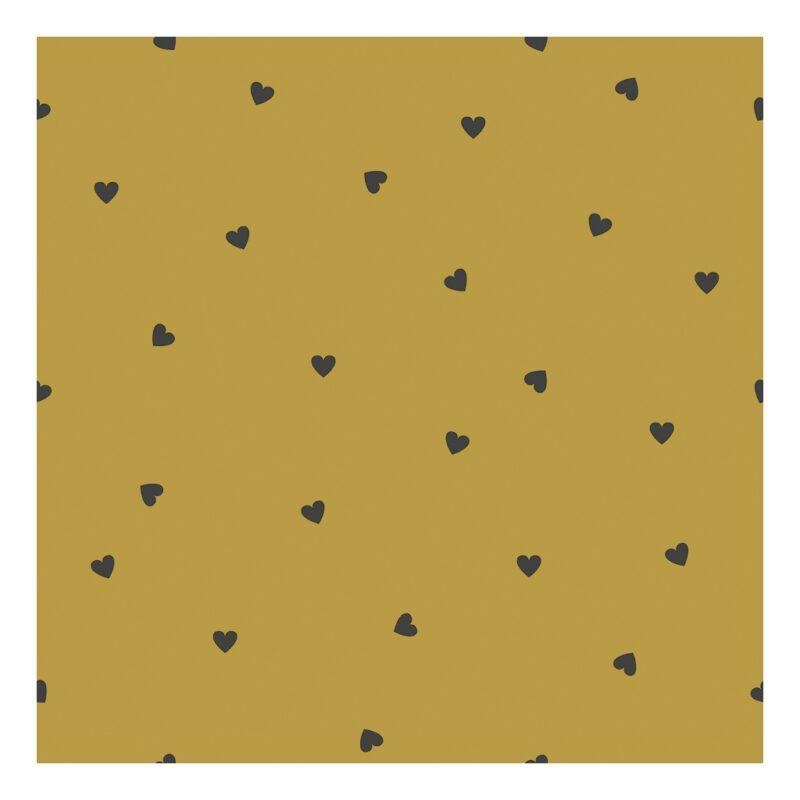 Behang Hearts Mustard Minima Lilipinso Okergeel Gender Neutraal Warme Kleur Babykamer Kinderkamer QIDDIE.com lili-H0622