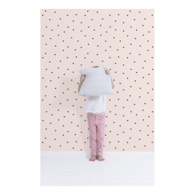 Behang Hearts Parel Roze Minima Lilipinso Babykamer Vliesbehang Hartjes QIDDIE.com lili-H0624