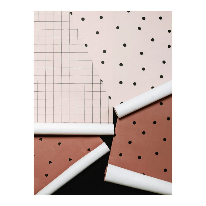 Behang Hearts Stippen Vakjes Terracotta Purle Roze Soorten Serie Minima Lilipinso QIDDIE.com lili-H0625 H0620 H0614 H0613 H0619 H0624