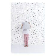 Behang Hearts Wit Zwart Minima Lilipinso Witte Achtergrond Vliesbehang Zwarte Hartjes Kinder Peuter Baby Black And White QIDDIE.com Lili-H0621
