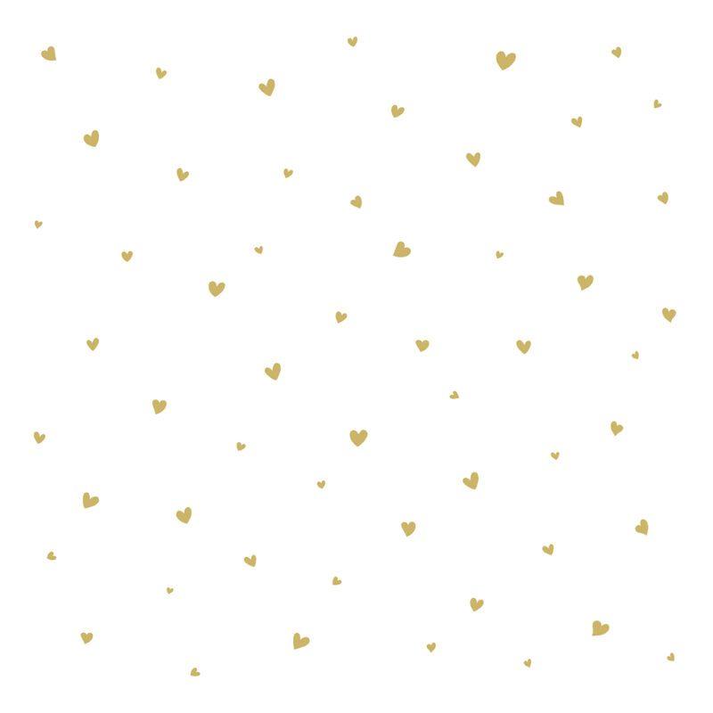 Behang Lovely Hearts Goud Coquette Lilipinso Golden Hartjes Kinderkamer Babykamer Gender Neutraal QIDDIE.com lili-H0601