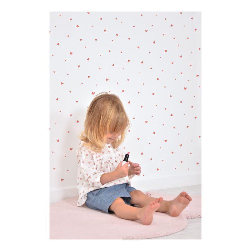Behang Lovely Hearts Roze Coquette Lilipinso Vliesbehang Neutraal Rustig Kinderkamer Inrichten Babykamer QIDDIE.com lili-H0600