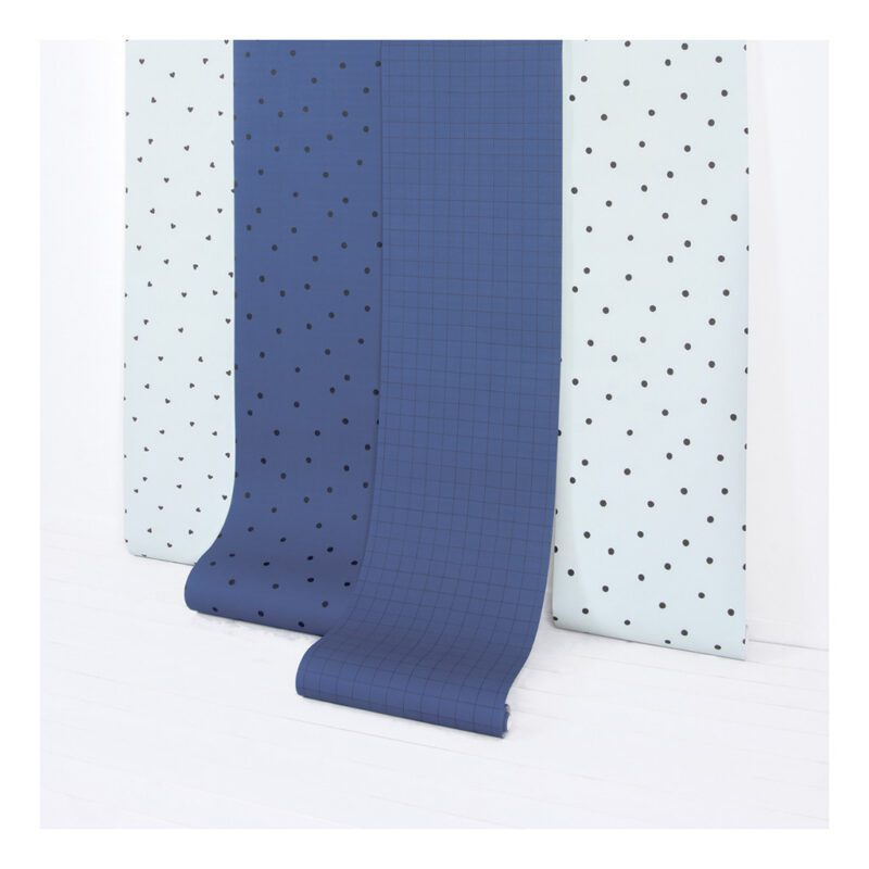 Behang Minima Lilipinso Navy Blue Blauw Licht blauw Morning Stippen Dots Hartjes Hearts Vakjes Vierkanten strepen Mist QIDDIE.com lili-H0611 h0612 h0618 h0617 h0623