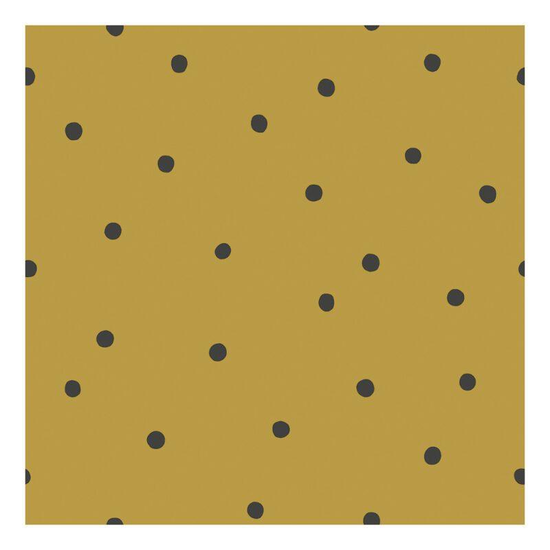 Behang Stippen Mustard Minima Lilipinso Oker Geel Mosterd Kleur Gender Neutraal Babykamer Kinderkamer Jongen Meisje Stijl QIDDIE.com lili-H0610
