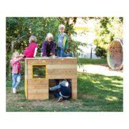 Houten Kiekeboe Speelhuisje Peuter Kleuter klimmen Klauteren Tuin Speeltuin Speelplaats School Kinderopvang 1 Meter Robinia Hout QIDDIE.com edup-BT-SH-11-Wü-R