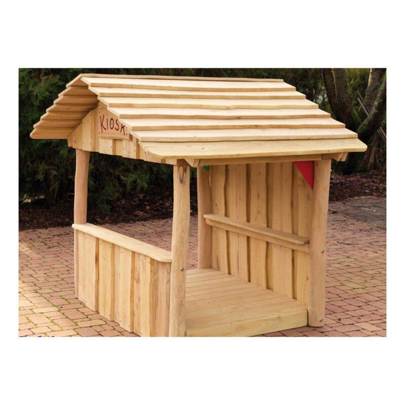 Houten Kiosk Speelhuisje Robinia Hout Duurzaam Degelijk Afhalen Binnen Spelen School Kinderopvang Tuin Speelplaats Speeltuin QIDDIE.com Edup-BT-SH09-KIO-R